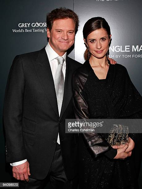 Actor Colin Firth and Livia Firth attend a screening of A Single Man hosted by the Cinema Society and Tom Ford at The Museum of Modern Art on...