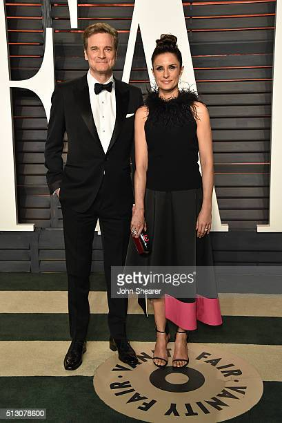Actor Colin Firth and Livia Giuggioli arrive at the 2016 Vanity Fair Oscar Party Hosted By Graydon Carter at Wallis Annenberg Center for the...