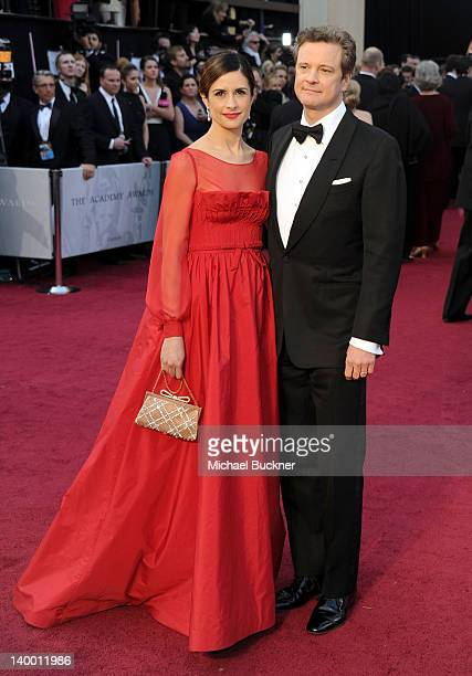 Actor Colin Firth and Livia Giuggioli arrives at the 84th Annual Academy Awards held at the Hollywood Highland Center on February 26 2012 in...