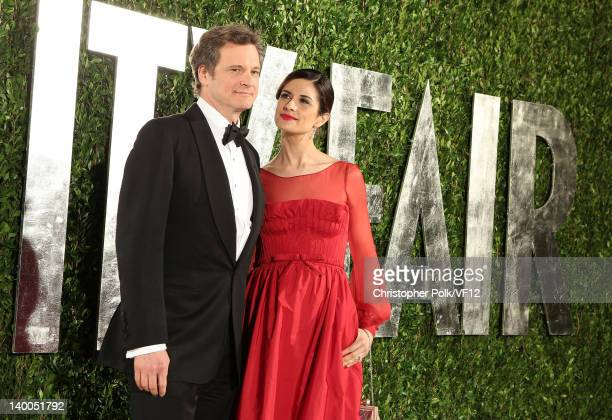 Actor Colin Firth and Livia Giuggioli attend the 2012 Vanity Fair Oscar Party Hosted By Graydon Carter at Sunset Tower on February 26 2012 in West...