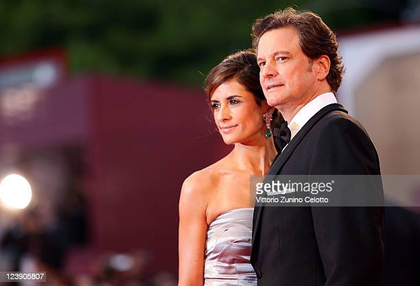 Actor Colin Firth and Livia Giuggioli attend the 'Tinker Tailor Soldier Spy' premiere at the Palazzo del Cinema during the 68th Venice Film Festival...