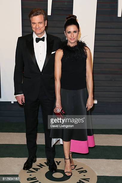 Actor Colin Firth and producer Livia Giuggioli arrive at the 2016 Vanity Fair Oscar Party Hosted by Graydon Carter at the Wallis Annenberg Center for...