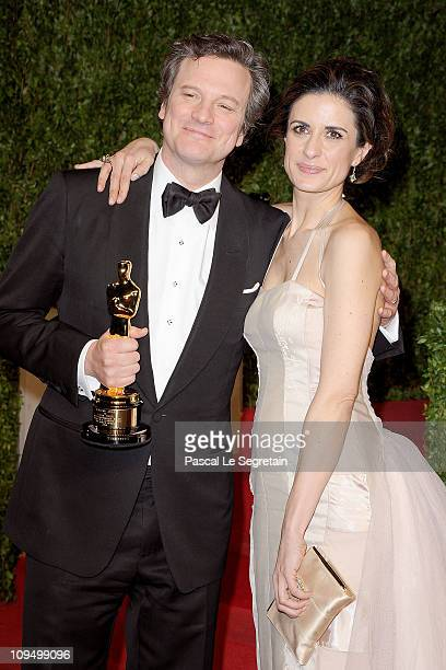 Actor Colin Firth and producer Livia Giuggioli arrives at the Vanity Fair Oscar party hosted by Graydon Carter held at Sunset Tower on February 27...