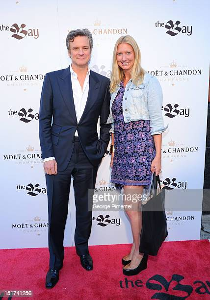 Actor Colin Firth and Victoria Webster arrive at The Bay And Moet Hosted 'Arthur Newman' Party At Michael's On Simcoe during 2012 Toronto...