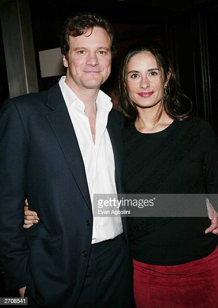 "Actor Colin Firth and wife Livia attend the World Premiere of ""Love Actually"" at the Ziegfeld Theatre November 06, 2003 in New York City."