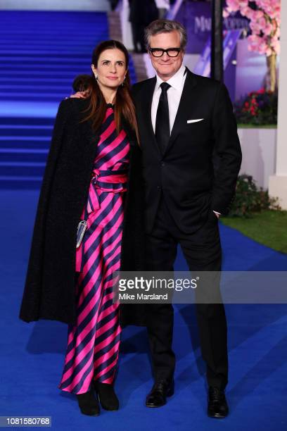 """Actor Colin Firth and wife Livia Firth attend the European Premiere of """"Mary Poppins Returns"""" at Royal Albert Hall on December 12, 2018 in London,..."""