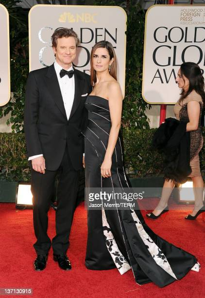 Actor Colin Firth and wife Livia Giuggioli arrive at the 69th Annual Golden Globe Awards held at the Beverly Hilton Hotel on January 15, 2012 in...