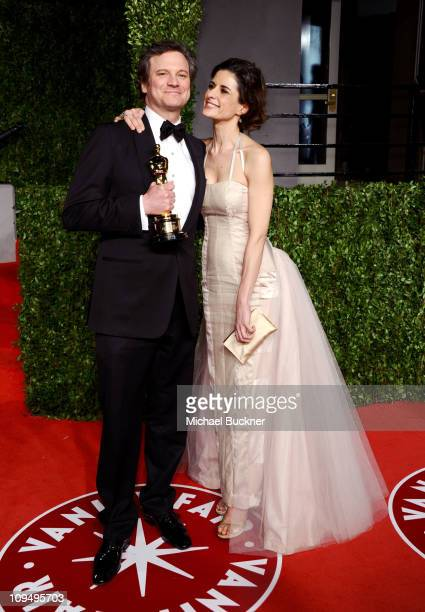 Actor Colin Firth and wife Livia Giuggioli arrive at the Vanity Fair Oscar party hosted by Graydon Carter held at Sunset Tower on February 27 2011 in...