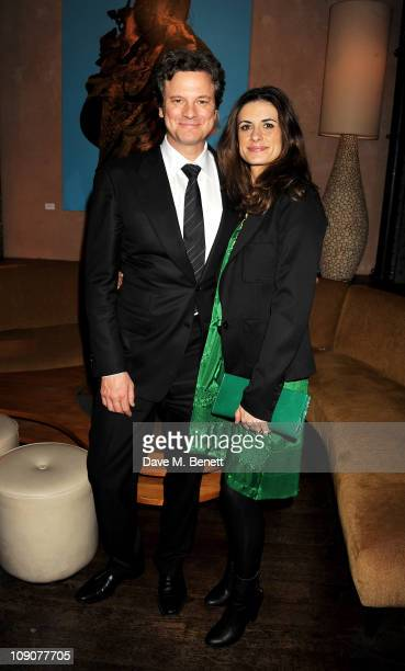 Actor Colin Firth and wife Livia Giuggioli attend a preBAFTA dinner celebrating best film nominee The King's Speech hosted by The Weinstein Company...