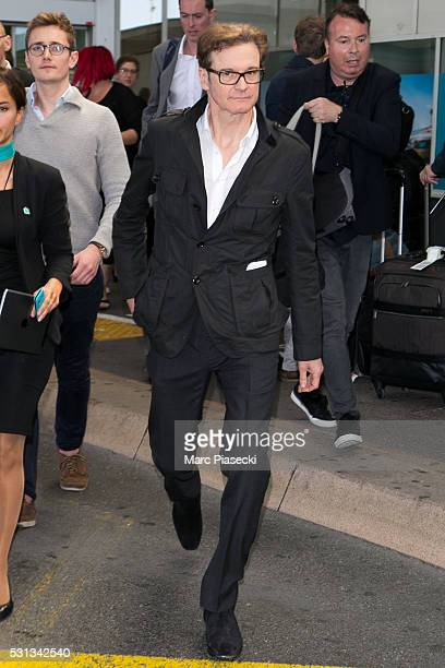 Actor Colin Firth arrives at Nice airport during the annual 69th Cannes Film Festival at Nice Airport on May 14 2016 in Nice France