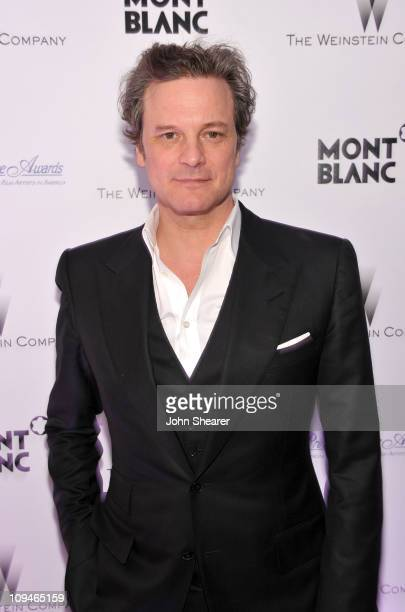 Actor Colin Firth arrives at the Montblanc Cocktail Party cohosted by Harvey and Bob Weinstein celebrating the Weinstein Company's Academy Award...