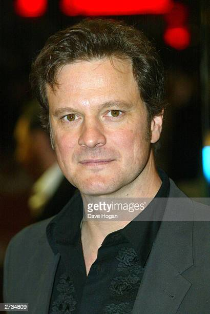 "Actor Colin Firth attends the UK charity film premiere of ""Love Actually"" at The Odeon Leicester Square on November 16, 2003 in London."