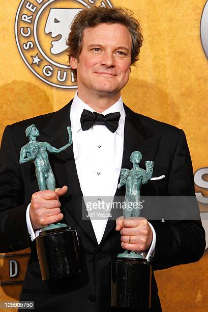 Actor Colin Firth poses in the press room during the 17th Annual Screen Actors Guild Awards held at The Shrine Auditorium on January 30 2011 in Los...