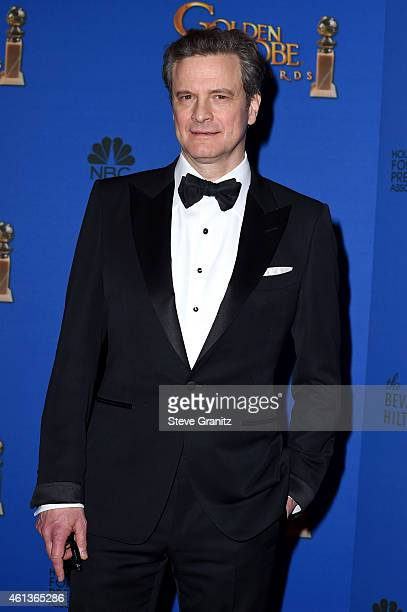 Actor Colin Firth poses in the press room during the 72nd Annual Golden Globe Awards at The Beverly Hilton Hotel on January 11 2015 in Beverly Hills...