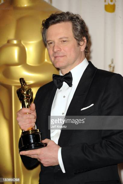 Actor Colin Firth poses in the press room during the 83rd Annual Academy Awards held at the Kodak Theatre on February 27 2011 in Los Angeles...