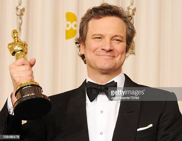 Actor Colin Firth winner of the award for Best Actor for 'The King's Speech' poses in the press room during the 83rd Annual Academy Awards held at...