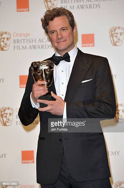 """Actor Colin Firth with the Best Actor award for """"A Single Man"""" during the Orange British Academy Film Awards 2010 at the Royal Opera House on..."""