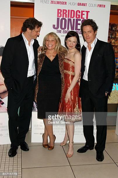 Actor Colin Firth writer Helen Fielding actress Renee Zellweger and actor Hugh Grant arrive at the UK Gala Premiere of Bridget Jones The Edge Of...