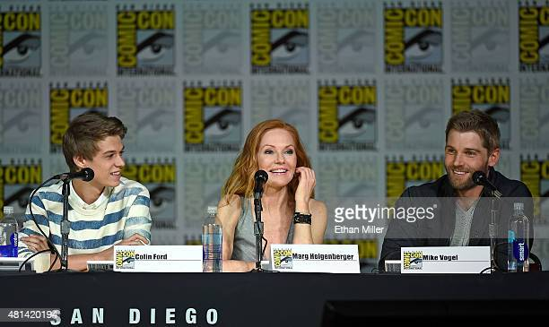 Actor Colin Ford actress Marg Helgenberger and actor Mike Vogel attend CBS TV Studios' panel for 'Under the Dome' during ComicCon International 2015...