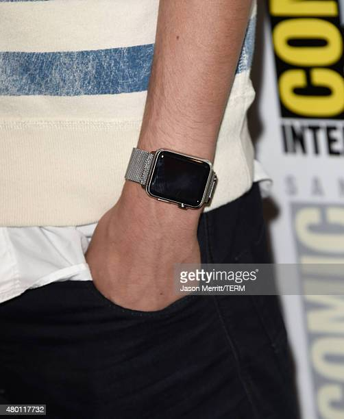 Actor Colin Ford watch detail attends the CBS Television Studios press room during ComicCon International 2015 at the Hilton Bayfront on July 9 2015...