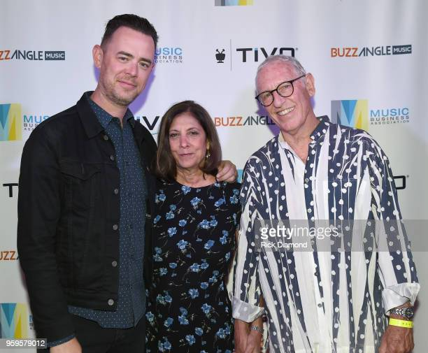 Actor Colin Hanks Patti Solomon and Michael Solomon take photos before the Music Biz 2018 Awards Luncheon for the Music Business Association on May...