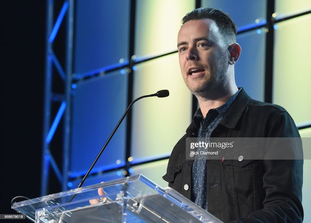 Actor Colin Hanks speaks onstage during the Music Biz 2018 Awards Luncheon for the Music Business Association on May 17, 2018 in Nashville, Tennessee.