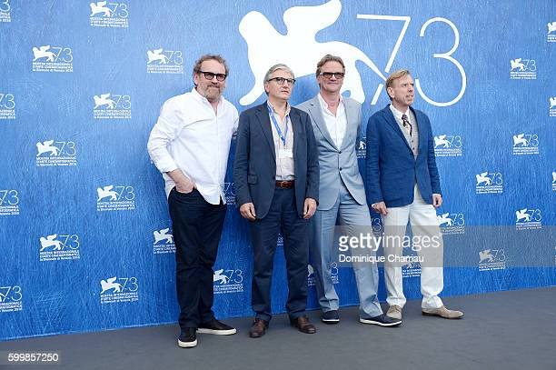 Actor Colm Meaney a guest director Nick Hamm and actor Timothy Spall attend a photocall for 'The Journey' during the 73rd Venice Film Festival at...