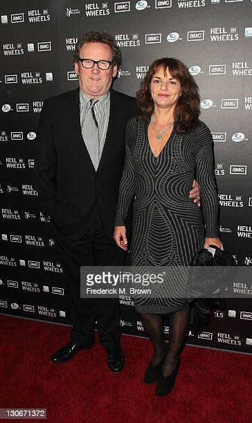 Actor Colm Meaney and Ines Glorian attend the premiere of AMC's Hell on Wheels at LA Live on October 27 2011 in Los Angeles California