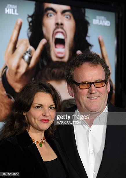 Actor Colm Meaney poses on the red carpet with his wife Ines Glorian as he arrives for the premiere of the comedy movie Get Him to the Greek from...
