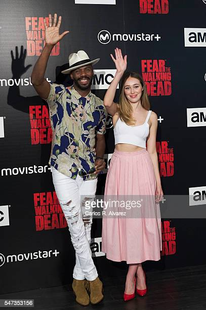 Actor Colman Domingo and actress Alycia DebnamCarey attend Fear the Walking Dead photocall at FNAC Callao on July 14 2016 in Madrid Spain