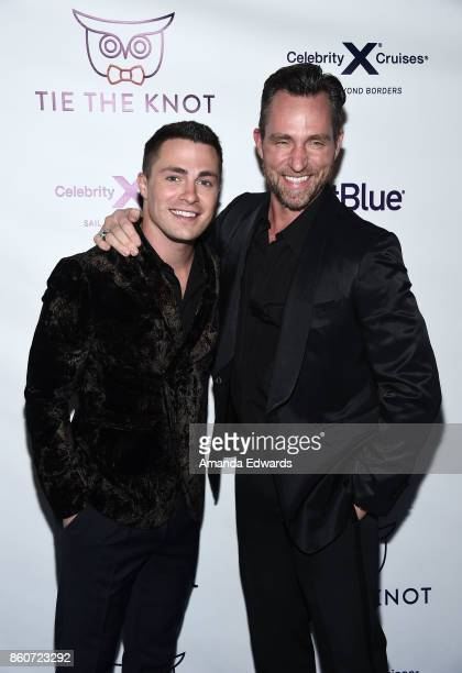 Actor Colton Haynes and his fiance Jeff Leatham arrive at Jesse Tyler Ferguson's Tie The Knot 5Year Anniversary celebration at NeueHouse Hollywood on...