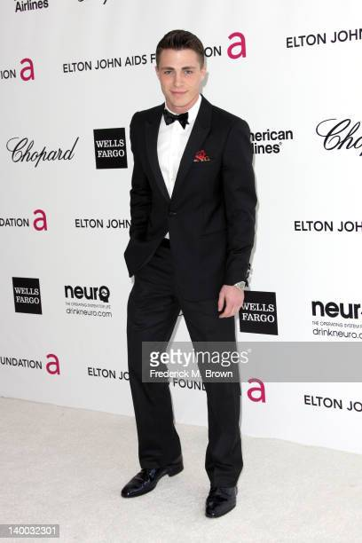 Actor Colton Haynes arrives at the 20th Annual Elton John AIDS Foundation's Oscar Viewing Party held at West Hollywood Park on February 26 2012 in...