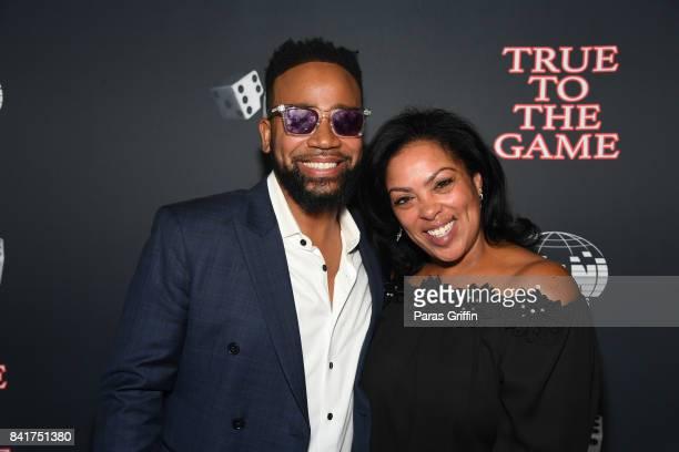 """Actor Columbus Short and author Teri Woods at """"True To The Game"""" Atlanta Screening at Regal Atlantic Station on September 1, 2017 in Atlanta, Georgia."""