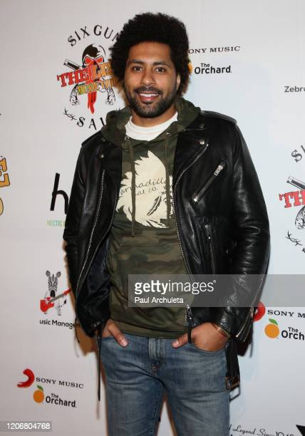 Actor / Comedian Alex Phillips attends the arrivals for the live performance of the Rock Band Six Gun Sal at Boardners Restaurant on February 16 2020...