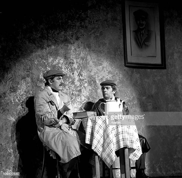 Actor comedian and cabaret pianist Dudley Moore with the actor writer comedian and satirist Peter Cook performing at the Royal Command Performance as...