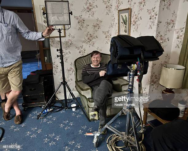 Actor comedian and director Ricky Gervais is photographed on set of the comedy drama Derek in which he stars and directs August 4 2012 in London...