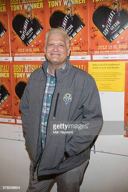 Actor comedian and game show host Drew Carey poses for a photo backstage after attending the musical 'A Gentleman's Guide To Love And Murder' at 5th...