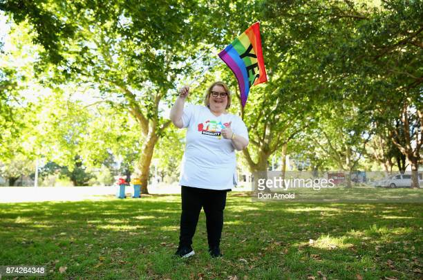 Actor comedian and Gay Marriage advocate Magda Szubanski poses prior to the result announcement on November 15 2017 in Sydney Australia Australians...
