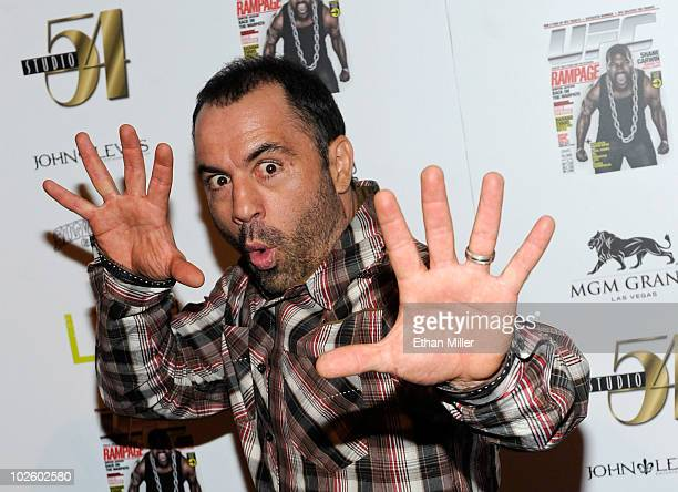 Actor comedian and Ultimate Fighting Championship color commentator Joe Rogan arrives at the official Silver Star Casting Co preparty for UFC 116 at...