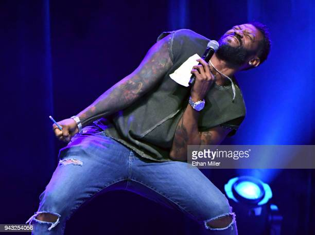 Actor comedian and writer Deon Cole performs his standup comedy routine during Martin Lawrence's Lit AF Tour at the Mandalay Bay Events Center on...