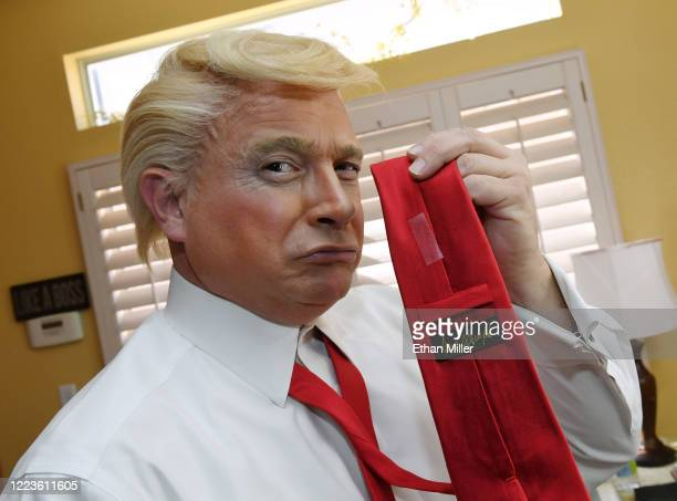 Actor comedian and writer John Di Domenico displays a Donald Trump tie as he gets ready to record videos for the Cameo personalized message website...