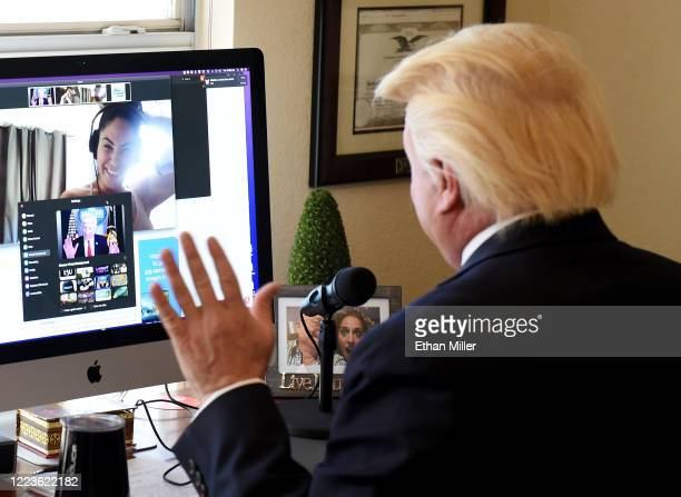 Actor comedian and writer John Di Domenico does a Zoom interview at his home as US President Donald Trump with cohosts Mikalah Gordon and AJ Gibson...