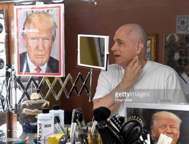 Actor comedian and writer John Di Domenico is reflected in a mirror as he applies makeup while getting ready to record videos for the Cameo...