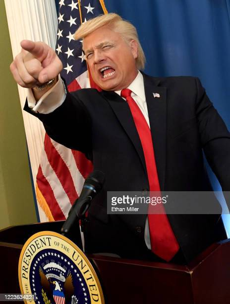 Actor comedian and writer John Di Domenico poses while recording videos as US President Donald Trump for the Cameo personalized message website on a...