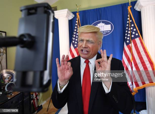 Actor comedian and writer John Di Domenico records a video as US President Donald Trump for the Cameo personalized message website on a White House...