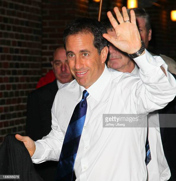 Actor / Comedian Jerry Seinfeld arrives to Late Show With David Letterman at the Ed Sullivan Theater on November 16 2011 in New York City