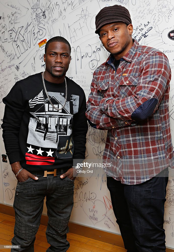 Actor/ comedian Kevin Hart poses with SiriusXM host Sway Calloway at the SiriusXM Studios on January 15, 2013 in New York City.