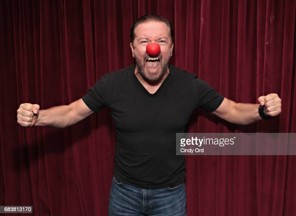Actor/ comedian Ricky Gervais shows his support for Red Nose Day during a visit to the SiriusXM Studios on May 16 2017 in New York City