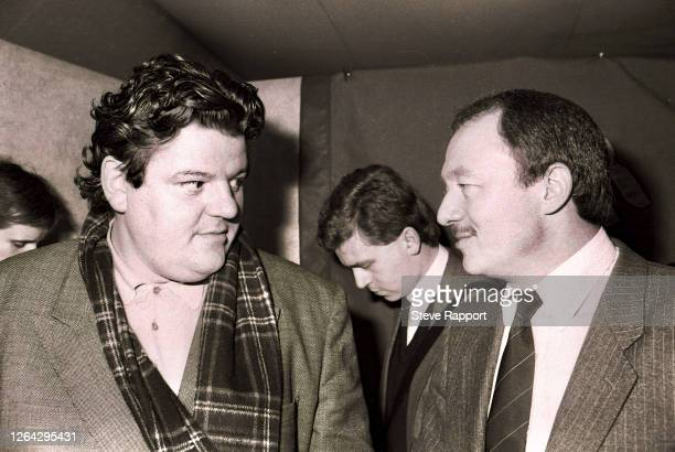Actor & comedian Robbie Coltrane and politician Ken Livingstone, Red Wedge Launch, Palace of Westminster, London, . During the latter half of the...