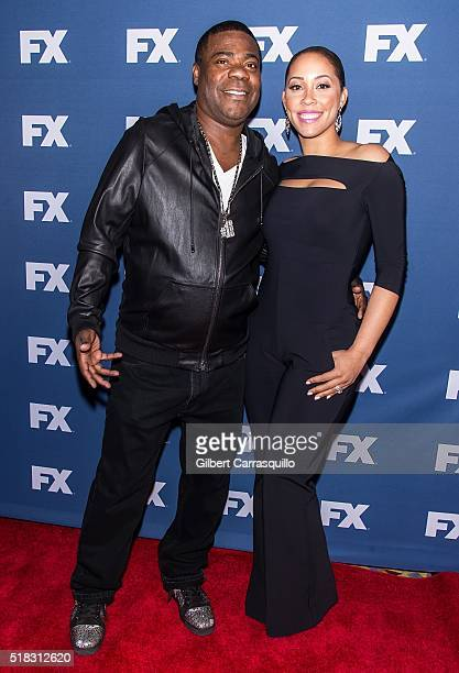 Actor comedian Tracy Morgan and wife Megan Morgan attend FX Networks Upfront screening of 'The People v OJ Simpson American Crime Story' at AMC...
